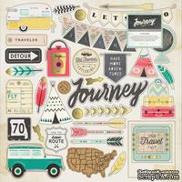Высечки из чипборда от Crate Paper - Journey Chipboard Stickers - Gold Foil Accents - 30x30 см, 42 шт.