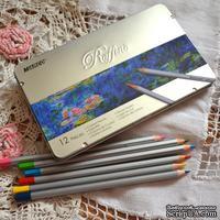 Карандаши цветные, 12 цветов, шестигранные, в металлическом пенале, Marco Raffine