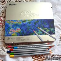 Карандаши цветные, 24 цвета, шестигранные, в металлическом пенале, Marco Raffine