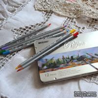Карандаши акварельные, 12 цветов, шестигранные, в металлическом пенале, Marco Raffine