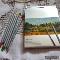 Карандаши акварельные, 36 цветов, шестигранные, Marco Raffine