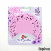 Набор салфеток ажурных круглых ТМ Santi, цвет розовый, диаметр 9 см, 12 шт.