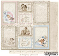 Лист двусторонней бумаги от Maja design - Vintage Baby - Ephemera cards30х30см
