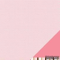 Лист двусторонней бумаги от American Crafts - Pebbles Paper - New Addition Girl - Love Bug - Embossed Finish