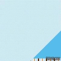 Лист двусторонней бумаги от American Crafts - Pebbles Paper - New Addition Boy - Cutie Pie - Embossed Finish