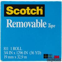 "Скотч многоразового использования - Scotch ® Removable Tape .75"", 19мм х 32,9 метров"
