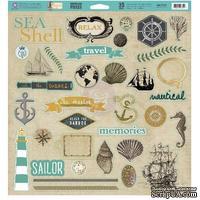 Лист наклеек из чипборда Prima - Seashore - Chipboard Pieces