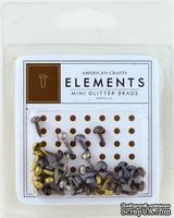 Набор брадс от American Crafts - Mini Glitter Brads Metallic