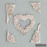 Набор гипсовых украшений от Prima - Ingvild Bolme- Resin Flower heart