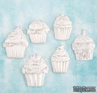Набор украшений от Prima Marketing - Shabby Chic Treasures Resin Embellishments - Cupcakes, 6 шт