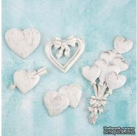Набор украшений от Prima Marketing - Shabby Chic Treasures Resin Embellishments - Hearts,  5 шт