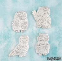 Набор украшений от Prima Marketing - Shabby Chic Treasures Resin Embellishments - Owls, Совы, 4 шт