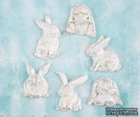Набор украшений Prima - Shabby Chic Treasures Resin Embellishments  - Rabbits , 6 шт