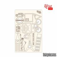 Чипборд для скрапбукинга от ROSA TALENT - Make your journey 3, белый картон, 12,8х20см