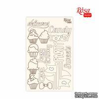 Чипборд для скрапбукинга от ROSA TALENT - Cake delicious 1, белый картон, 12,8х20см
