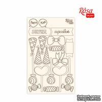 Чипборд для скрапбукинга от ROSA TALENT - Cake delicious 2, белый картон, 12,8х20см