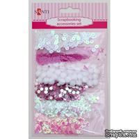 Набор декоративных украшений для скрапбукинга TM Santi, 6 видов, бело-розовый