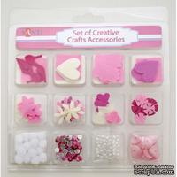 Набор декоративных украшений для скрапбукинга TM Santi, 12 видов, розовый