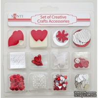 Набор декоративных украшений для скрапбукинга TM Santi, 12 видов, красный