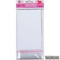 Набор белых текстурированных заготовок для открыток, 10см*20см, 250г/м2, 5шт., ТМ Santi