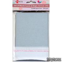 Набор серебристых перламутровых заготовок для открыток, 10см*15см, 250г/м2, 5шт., ТМ Santi