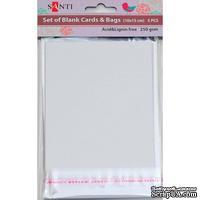 Набор белых перламутровых заготовок для открыток, 10см*15см, 250г/м2, 5шт., ТМ Santi