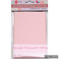 Набор розовых перламутровых заготовок для открыток, 10см*15см, 250г/м2, 5шт., ТМ Santi
