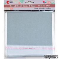 Набор серебристых перламутровых заготовок для открыток, 15см*15см, 250г/м2, 5шт., ТМ Santi