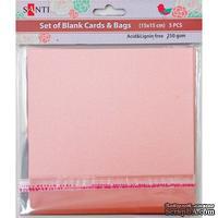 Набор розовых перламутровых заготовок для открыток, 15см*15см, 250г/м2, 5шт., ТМ Santi