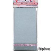Набор серебристых перламутровых заготовок для открыток, 10см*20см, 250г/м2, 5шт., ТМ Santi
