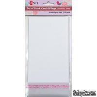 Набор белых перламутровых заготовок для открыток, 10см*20см, 250г/м2, 5шт., ТМ Santi