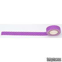 Лента текстильная самоклеющаяся Фиолетовый горох, 1,5см*5м, ТМ Santi