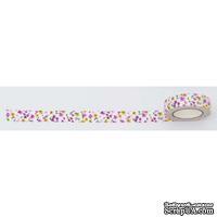 Лента текстильная самоклеющаяся Разноцветные цветы, 1,5см*5м, ТМ Santi