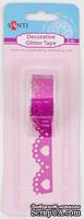 Лента самоклеющаяся блестящая Кружево с сердечком розовая, 2 м, ТМ Santi