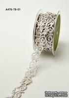 Лента на клеевой основе - Adhesive Fleur-de-lis Scroll Design - белая, ширина - 22 мм, длина 90 см