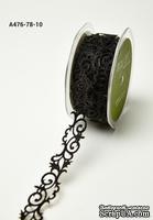 Лента - Adhesive Fleur-de-lis Scroll Design - черная, ширина - 22 мм, длина 90 см