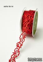 Лента - Adhesive Fleur-de-lis Scroll Design - красная, ширина - 22 мм, длина 90 см