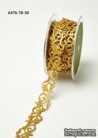 Лента - dhesive Fleur-de-lis Scroll - золото, ширина - 22 мм, длина 90 см