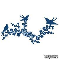 Нож для вырубки от Tattered Lace - Oriental Blue Bird - Веточка с птичками