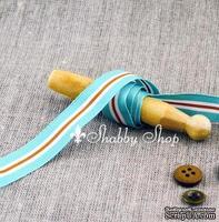 Лента American Crafts в голубую, белую, коричневую полоску, ширина 15,7мм, 90 см