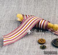 Лента American Crafts в фиолетовую, коричневую, белую полоску, ширина 25,4мм, 90 см