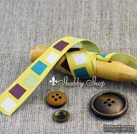 Лента American Crafts желтая в белые, салатовые, фиолетовые, бирюзовые квадратики, ширина 15,7мм, 90 см