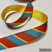 Лента American Crafts в красную, голубую, желтую диагональную полоску, ширина 22мм, 90 см