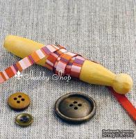 Лента American Crafts в полосочку коричневых и розовых тонов, ширина 6,35мм, 90 см