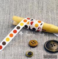 Лента American Crafts белая в желтые, оранжевые, красные и коричневые кружочки , ширина 9,5мм, 90 см