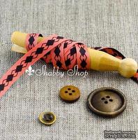 Лента American Crafts двусторонняя в ромбики, розово-коричневая, ширина 9,5мм, 90 см