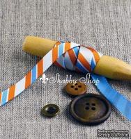 Лента American Crafts в диагональную голубую, белую, оранжевую полоску, ширина 9,5мм, 90 см