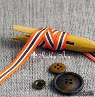 Лента American Crafts в оранжевую, белую и коричневую полоску , ширина 9,5мм, 90 см