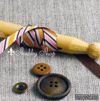 Лента American Crafts в диагональную розовую, белую, оранжевую, коричневую полоску, ширина 9,5мм, 90 см