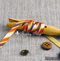 Лента American Crafts в диагональную золотую, оранжевую, фиолетовую, белую полоску, ширина 9,5мм, 90 см